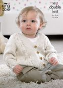 King Cole Baby Cardigan, Waistcoat & Slipover Cottonsoft Knitting Pattern 3517  DK