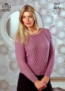 King Cole Ladies Sweater & Top Merino Blend Knitting Pattern 3525  4 Ply