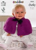 King Cole Baby Cape, Top, Headband & Blanket Cuddles Knitting Pattern 3554  Chunky
