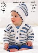 King Cole Baby Sweater, Jacket & Hat Comfort Prints Knitting Pattern 3557  DK