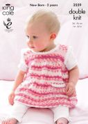 King Cole Baby Dress, Sweater & Hat Comfort Prints Knitting Pattern 3559  DK