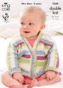 King Cole Baby Dolman Cardigans & Booties Comfort Prints Knitting Pattern 3560  DK