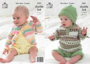 King Cole Baby All in One & Cardigan Comfort Prints Knitting Pattern 3561  DK