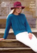 King Cole Ladies Jacket & Sweater Maxi Lite Knitting Pattern 3571  Super Chunky