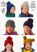 King Cole Family Hats Gypsy Knitting Pattern 3576  Super Chunky