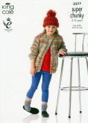 King Cole Girls Cardigans Gypsy Knitting Pattern 3577  Super Chunky