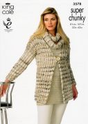 King Cole Ladies Jackets & Snood Gypsy Knitting Pattern 3578  Super Chunky
