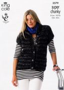 King Cole Ladies Gilet & Jacket Gypsy Knitting Pattern 3579  Super Chunky
