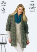 King Cole Ladies Jackets Gypsy Knitting Pattern 3580  Super Chunky