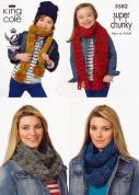 King Cole Ladies & Girls Snoods & Scarves Gypsy Knitting Pattern 3582  Super Chunky