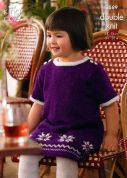 King Cole Girls Dresses Glitz Knitting Pattern 3589  DK
