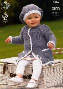 King Cole Baby Dress, Cardigan & Beret Big Value Knitting Pattern 3596  Aran