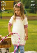 King Cole Girls Dress & Cardigan Big Value Knitting Pattern 3598  Aran