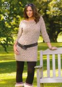 King Cole Ladies Sweater Dress & Cardigan Big Value Knitting Pattern 3601  Aran