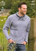 King Cole Mens Sweater & Gilet Big Value Knitting Pattern 3603  Aran
