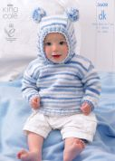 King Cole Baby Sweaters Candystripe Knitting Pattern 3608  DK