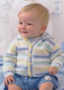 King Cole Baby Cardigans Candystripe Knitting Pattern 3609  DK