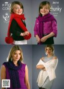 King Cole Ladies & Girls Scarves & Wraps Galaxy Knitting Pattern 3614  Chunky