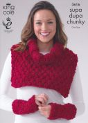 King Cole Ladies Hat, Neck & Wrist Warmers Supa Dupa Knitting Pattern 3616  Super Chunky