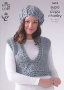 King Cole Ladies Waistcoat, Top & Accessories Supa Dupa Knitting Pattern 3618  Super Chunky