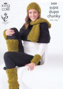 King Cole Ladies Hat, Scarf & Accessories Supa Dupa Knitting Pattern 3620  Super Chunky