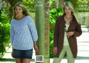 King Cole Ladies Coat & Sweater Big Value Knitting Pattern 3623  Chunky
