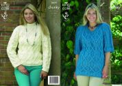 King Cole Ladies Sweater & Tunic Big Value Knitting Pattern 3625  Chunky