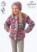 King Cole Girls Sweater, Hat & Scarf Garland Knitting Pattern 3642  Super Chunky