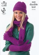 King Cole Ladies Hats, Gloves & Scarves Merino Knitting Pattern 3650  DK