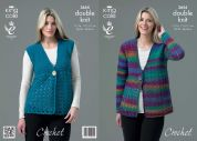 King Cole Ladies Cardigan & Waistcoat Riot Crochet Pattern 3654  DK