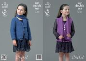 King Cole Girls Cardigan, Waistcoat & Scarf Smooth Crochet Pattern 3657  DK