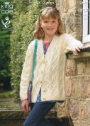 King Cole Girls Cardigans Fashion Knitting Pattern 3663  Aran