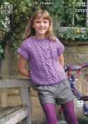 King Cole Girls Tunic & Top Fashion Knitting Pattern 3664  Aran
