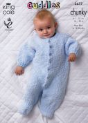 King Cole Baby Onesie Sleepsuits Cuddles Knitting Pattern 3677  Chunky