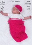 King Cole Baby Snuggle Sack, Jacket, Cardigan & Hat Comfort Knitting Pattern 3678  DK