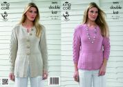 King Cole Ladies Cardigan & Top Bamboo Cotton Knitting Pattern 3693  DK