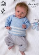 King Cole Baby Jacket, Sweater, Gilet & Moccasins Comfort Knitting Pattern 3695  4 Ply, DK