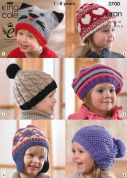 King Cole Childrens Hats Comfort Knitting Pattern 3700  Aran
