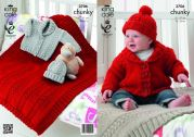 King Cole Baby Blanket, Jacket & Hat Comfort Knitting Pattern 3706  Chunky