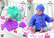 King Cole Baby Jacket, Hat & Mittens Comfort Knitting Pattern 3707  Chunky