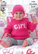 King Cole Baby Picture Tank Top, Sweater & Hat Pricewise Knitting Pattern 3709  DK