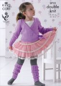King Cole Girls Ballet Cardigan & Legwarmers Pricewise Knitting Pattern 3712  DK