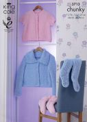 King Cole Ladies Cosy Jacket & Socks Cuddles Knitting Pattern 3713  Chunky