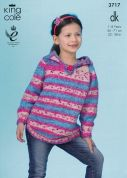 King Cole Girls Hoodies Splash Knitting Pattern 3717  DK