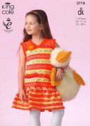 King Cole Girls Dress & Cardigan Splash Knitting Pattern 3718  DK