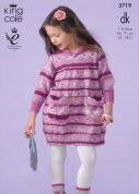 King Cole Girls Dress & Cardigan Splash Knitting Pattern 3719  DK