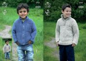King Cole Boys Sweater & Cardigan Fashion Knitting Pattern 3721  Aran