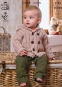 King Cole Baby Coat, Jacket & Cardigan Comfort Knitting Pattern 3724  Aran