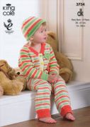 King Cole Baby Onesies & Hat Comfort Knitting Pattern 3734  DK