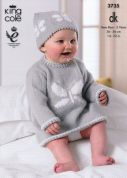 King Cole Baby Dress, Waistcoat & Hats Comfort Knitting Pattern 3735  DK